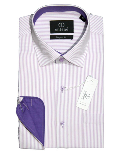 white shirt with purpal striped & piping