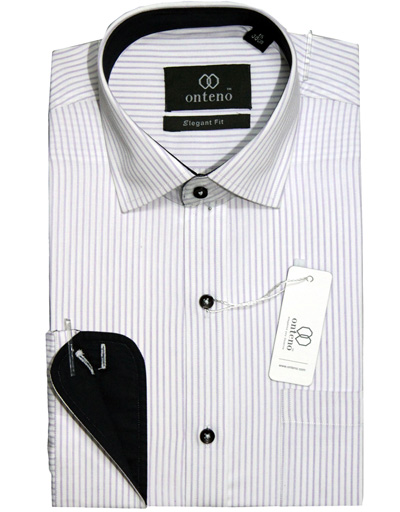 Orchid/White Stripes With Black Inner Collar & Cuffs