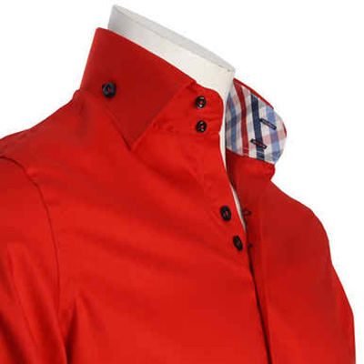 Men's Double Button Collar Red Shirt