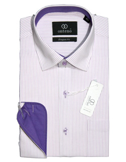 White shirt with purpal striped inner collar & cuff