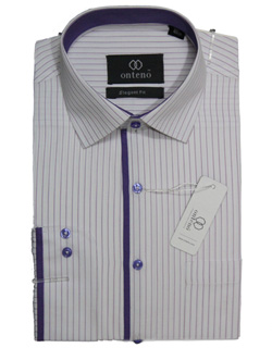 White shirt with purpal striped inner collar & piping