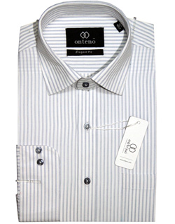 White Shirt With Grey Stripes