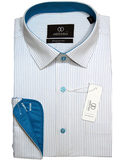 Steel Blue/White Stripes With Mild Teal Inner Collar & Cuffs