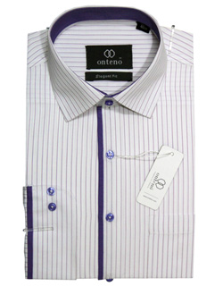 Medium Orchid/White Stripes With Slate Blue Inner Collar & Piping