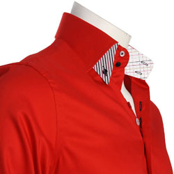 Men's Red Double Collar Italian Style Shirt