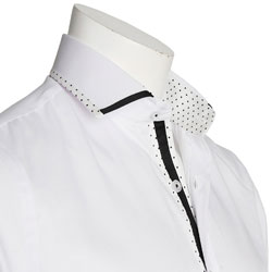 Men's White Polka Dot Trim Italian Style Shirt