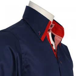Men's Italian Style Navy Formal Shirt