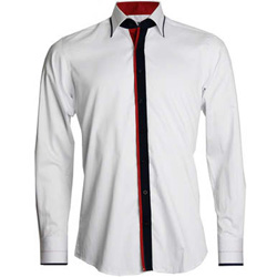 Men's White Shirt With Navy and Red Trim