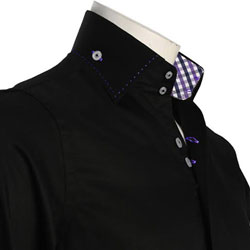 Men's Black Shirt with Two Buttons Collar