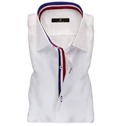 Men's White Ribbon Collar Formal Shirt