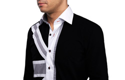 Men's Black Union Jack Print at Front Formal Shirt