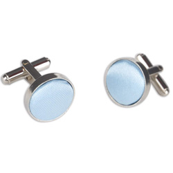 Sky Blue Round Cuff Links