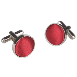Dark Red Round Cufflinks