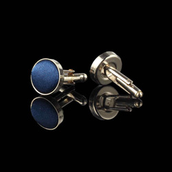 Dark Blue Round Cufflinks