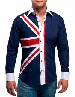 MEN'S NAVY UNION JACK PRINT SHIRT