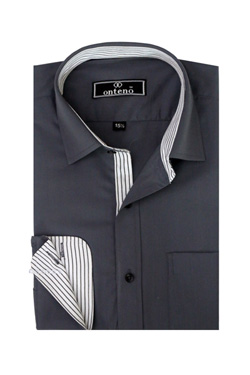 Black Broadcloth With White/Black Stripes Inner Cuff & Collar