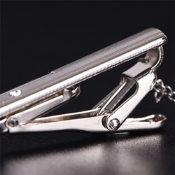 Silver Hinged Tie Clip Bars